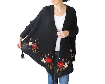 Plus Size Cardigan, Plus Size Clothing, Embriodered Cardigan, Hand Knitted Cardigan, Over Size Cardigan, Wool Cardigan, Black Cardigan, Gift