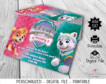 Paw Patrol Skye/Everest Personalized Digital Invitation, Printable, Party invitation, Birthday invitation