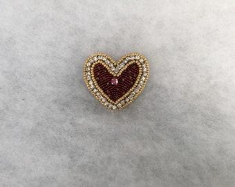 Brooch heart, beaded brooch, red heart brooch, jewelry brooch heart