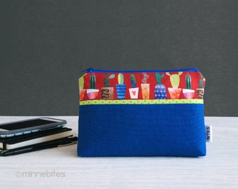 Cactus Wristlet - Small Blue Purse - Cacti Lovers Gift - Red Zipper Pouch - Purse Wrist Strap - Purse Organizer - Travel Bag - Ready to Ship