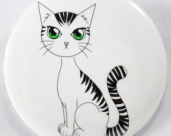 Black and White Cat Your Choice of Eye Color Pocket Mirror