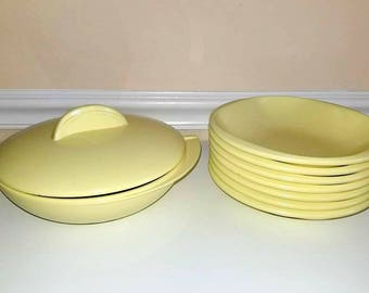 Boonton Melamine Bowls,Set of 8, Boontonware, Yellow Bowls ,Boontonware Bella, Mallo-Ware, Yellow Melmac, Retro Kitchen, Serving Bowl, 1950s