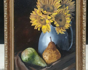 "8""X10""FRAMED original oil on canvas of sunflowers  and pears. BEAUTIFUL!!"