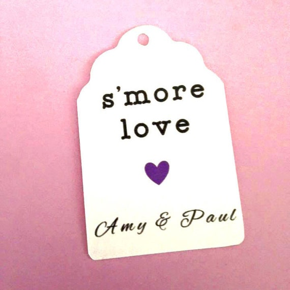 Smore Love Wedding Party Favors with custom name, heart , custom tags, gift tags, favor tags, thank you tags, party favors,