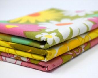 Yellow Pink Green Vintage Retro Fabric FQ Fat Quarter Bundle