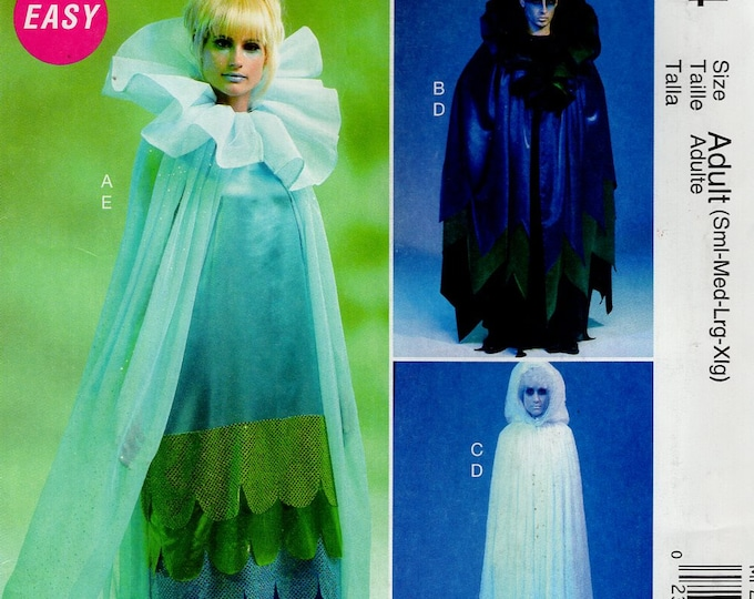 FREE US SHIP Sewing Pattern McCall's 244 6630 Adult Costume Drawstring Form Hood Cape dress Uncut Halloween Unisex Chest: Bust 31-44