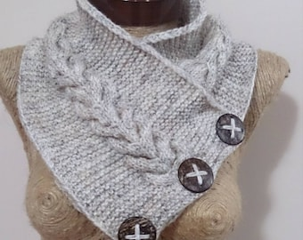 button scarf, boston harbour scarf, winter gift, 3 button scarf, oatmeal neckwarmer