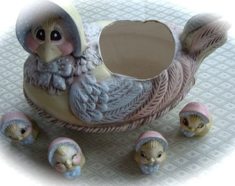 Vintage Kitsch Easter Decor Shabby Chic Mother Goose and Her Ducklings Taurine Chickadees