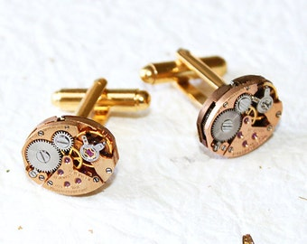 GIRARD PERREGAUX Steampunk Cufflinks - Very RARE Luxury Swiss Vintage Watch Movement Men Steampunk Cufflinks Cuff Link Men Fathers Day Gift