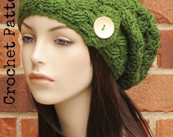 CROCHET HAT PATTERN Instant Pdf Download - Ireland Slouchy Beanie Cabled Slouch Hat Pattern Womens Teen Summer Fall- Permission to Sell