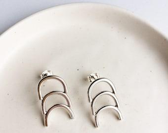 Clouded Earrings Minimalist Silver Studs