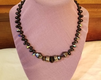 Black Czech Beaded One of a Kind Handmade Necklace