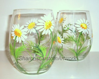 White Daisies Hand Painted Stemless Wine Glasses Set of 2 -21 oz. Stemless Wine Glassware Springtime Daisy Green Yellow White Mothers Day