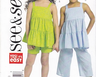 FREE US SHIP Butterick 5009 Easy Girls Summer Ruffle Top Capri pants Factory Folded Size 2 3 4 6 8 New Uncut Out of Print 2007