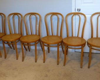 Lovely Set Of 6 Vintage Bentwood Chairs Thonet Style Bistro Chair Vintage Light  Wood Cane Seat French