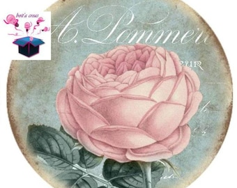 1 cabochon clear 25 mm vintage rose theme