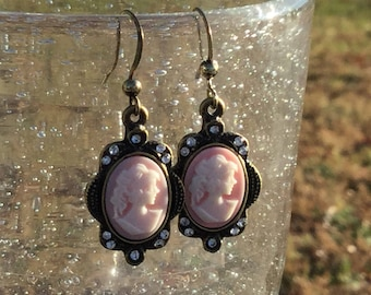 Dangle Earrings Victorian Cameo Steampunk Antiqued Brass Pink