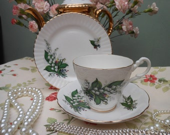1960's - LILY of the VALLEY TEA Cup Trio - Gift Boxed Tea set - English bone china -Afternoon tea - Gift for her - 1960's china - Gold gild
