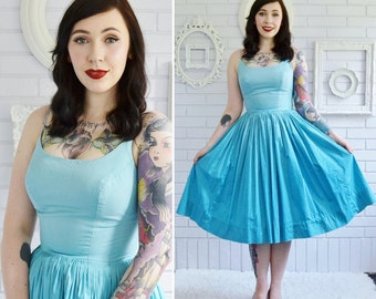 Vintage 1950s Spaghetti Strap Dress in Ombre Aquamarine by ET Jrs Size XXS or XS