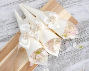 Wedding aisle flower cones pew cones wedding decorations luxury petal cones wedding flower cones confetti cones favor cones made from mightylinksfo