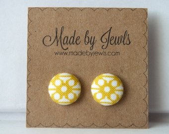 Saffron Yellow and White Geometric Handmade Fabric Covered Hypoallergenic Button Post Stud Earrings 10mm