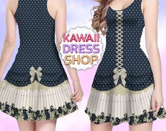 Summer Blues Fence JSK Dress Gold Bead, Skater Dress in XS-5XL, country lolita, americana lolita, casual lolita dress, country and western
