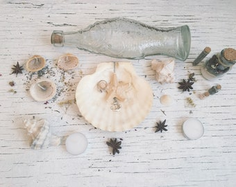 Sea Witch Altar [ Altar set ] Pagan Altar/Venus-Sea Goddess-Witchcraft-Wicca-candles-seashell-bottles-Altar kit-setup-ritual-gift-Home decor