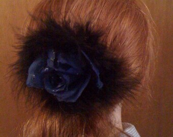 Dark Blue Rose with Black Marabou Hair Clip