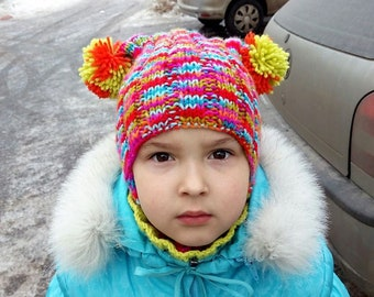 Fun winter kids' knitted hat with 2 pompoms