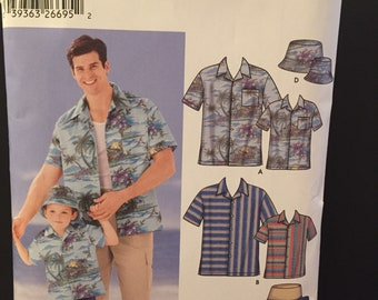 Simplicity 5581 men's and boys pattern for  camp shirt, cargo shorts and hat