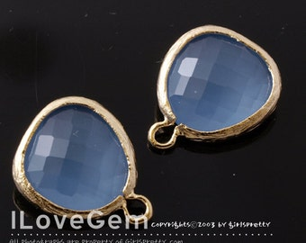 SALE 20% off // 10pcs of P1750 Gold plated, Ice Blue, Glass fancy rosecut 12.5mm, Glass pendant, Framed glass