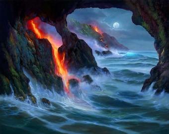 Robert Thomas Giclee -Kilauea Volcano Seascape - Hawaiian Island Lava Flow - Hawaii Moonlight Beach