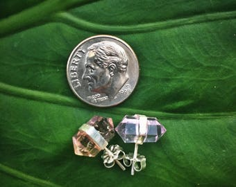 Mismatched Ametrine and Sterling Silver Stud Earrings