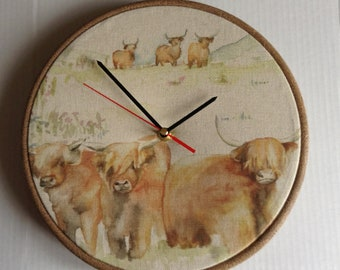 Voyage Highland Cattle Cow Fabric Covered Wall Clock