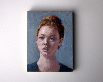 woman portrait, original acrylic painting, hair painting, small painting, tiny painting, 6x8 painting, acrylics on canvas, mini painting