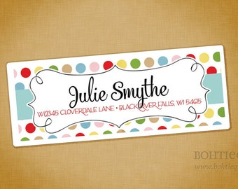 Dots and Curls Calligraphy Personalized Return Address Label