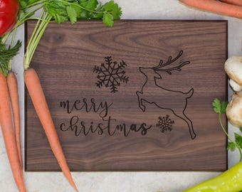 Hardwood Cutting Board - Merry Christmas Leaping Reindeer