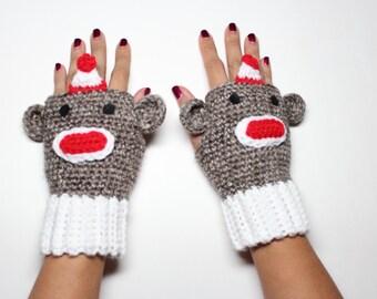 Sock Monkey Fingerless Gloves, Crochet Monkey Mittens,  Animal Gloves, Winter Accessories,  Fantasy Wrist Warmers