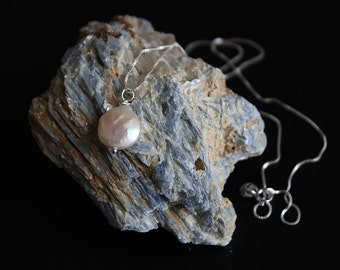 Coin Pearl Necklace - Fresh Water Real Pearl Necklace - Sterling Silver