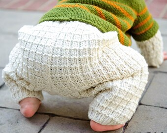 make your own Toasty Waffle Pants (DIGITAL KNITTING PATTERN) baby infant toddler