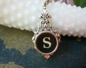 Typewriter Key Jewelry - Typewriter Key Initial Necklace Letter S