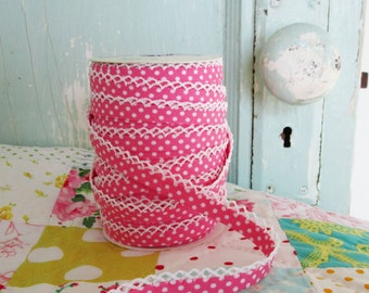Bubble Gum Polka Dot Double Fold Bias Tape (No. 20). Pink Bias Tape.  Pink Polka Dot.  Pink Quilt Binding.  Craft Supplies. Sewing Supplies.