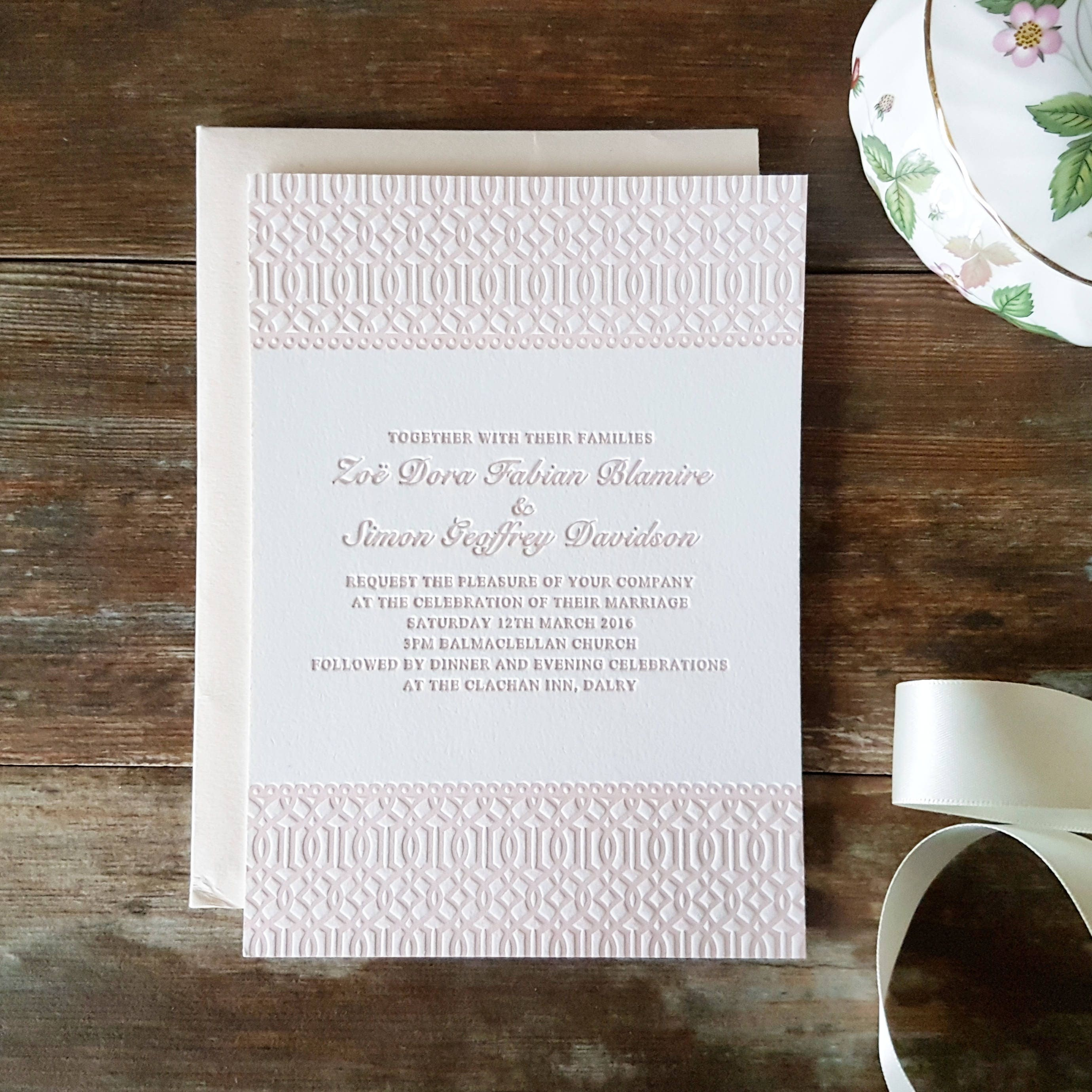 Letterpress Wedding Invitations Vintage Traditional Formal