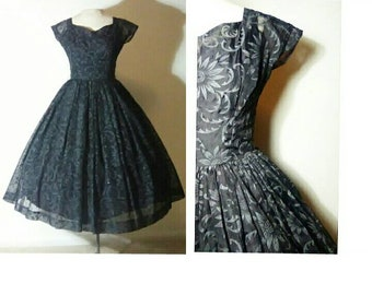 Vintage 50's Black Organza FLOCKED Floral Illusion Bombshell Dress | 1950's Couture I.Magnin Formal | Glitter Party Dress