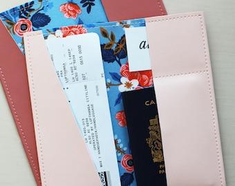 Long floral passport holder, passport case, vinyl passport holder with cotton liner, faux leather passport holder