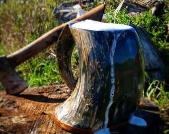 Viking Drinking Horn Mug, Tankard, Extra Large 30oz, Wood base