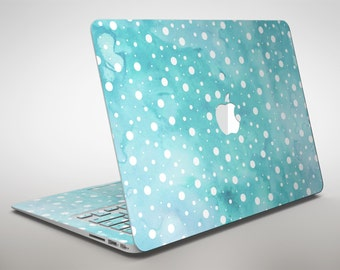 Light Blue and White Watercolor Polka Dots - Apple MacBook Air or Pro Skin Decal Kit (All Versions Available)