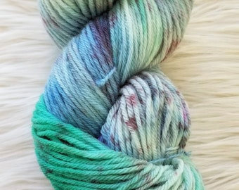 Yarn- Northern Lites- Worsted/Aran- Hand dyed, variegated, speckled,wool yarn, feltable,hand painted, blue green purple, OOAK, ready to ship