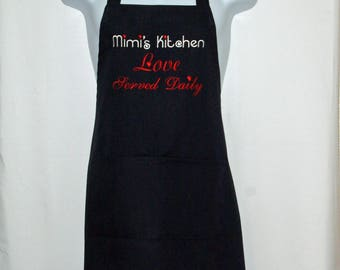 Mimi Apron, Memes Kitchen, Love Served Daily, Custom Personalized Grandparent Gift, No Shipping Fee, Ready To Ship TODAY, AGFT 1110