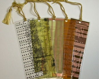 Recycled Vintage Circuit Board Geek Bookmark pkg 1